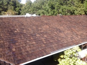 Residential roof with new replacement wood shake roof