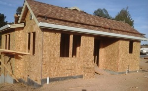 Brand new home being built in California with a new asphalt shingle roof